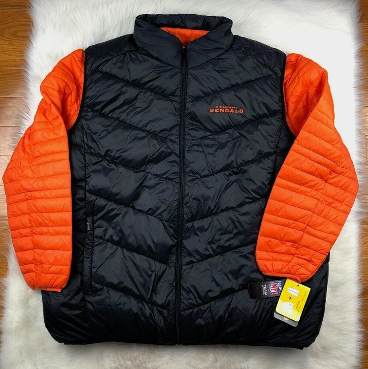 sale retailer a80b9 d8363 Cincinnati Bengals 3 in 1 Puffer Jacket + Puffer Vest Black Orange G-III  NFL 3XL