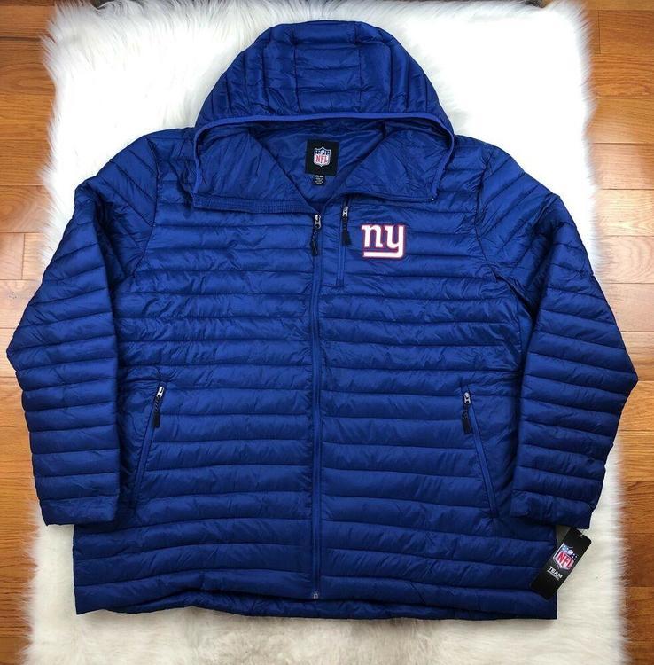 sports shoes 55c49 31ee8 NFL New York Giants Big & Tall Full Zip Hooded Puffer Jacket Blue G-III, 4XL