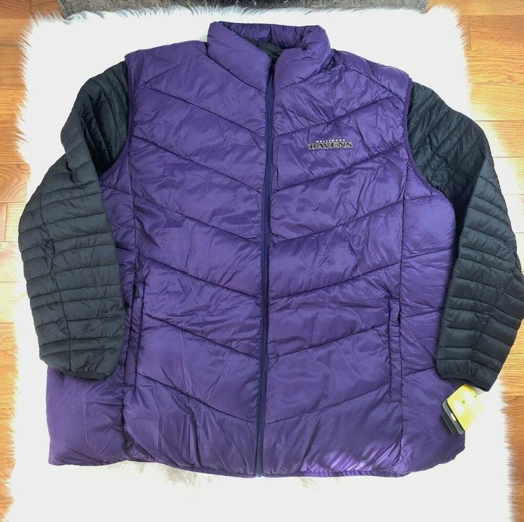 size 40 879b6 f30e3 Baltimore Ravens 3 in 1 Puffer Jacket + Puffer Vest Black & Purple G-III  NFL 3XL