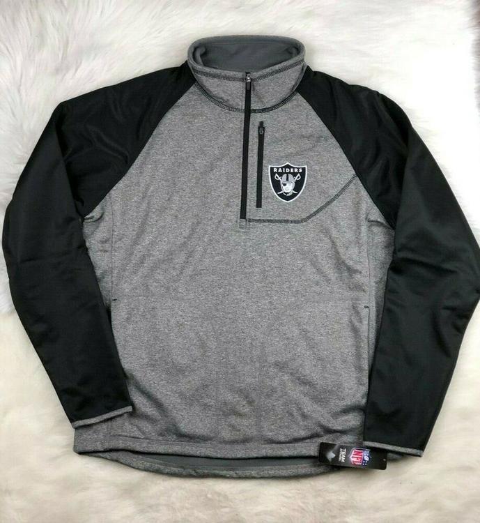 half off e9463 9e7a8 NFL Oakland Raiders Soft Shell 1/4 Zip Pullover Track Jacket G-III Men's 6XL