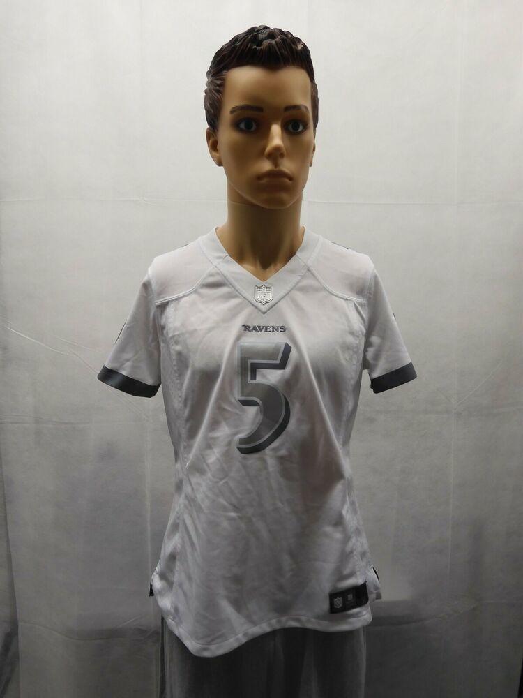 Nike Joe Flacco Baltimore Ravens White Silver Jersey NFL Womens L ...