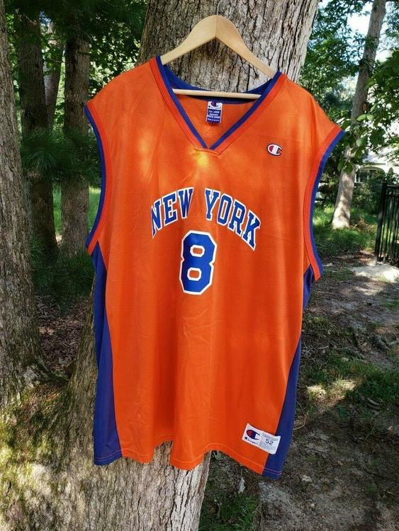 sports shoes 4c3f8 404a8 VTG New York Knicks Champion Latrell Sprewell Jersey Sz 52 XXL Orange Blue