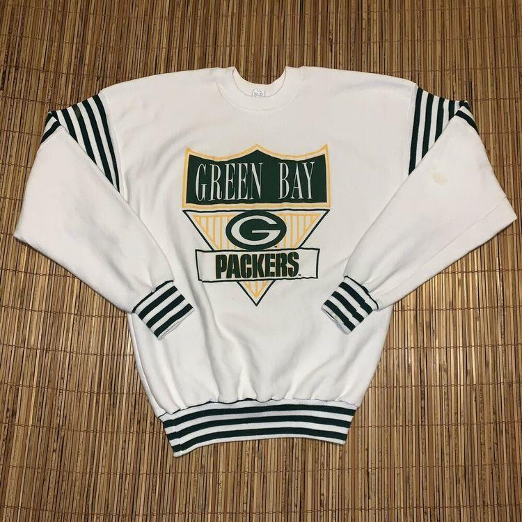 best service d1cc2 41208 Vintage 1970s 1980s Green Bay Packers NFL L Football Sweatshirt Sweater  Striped