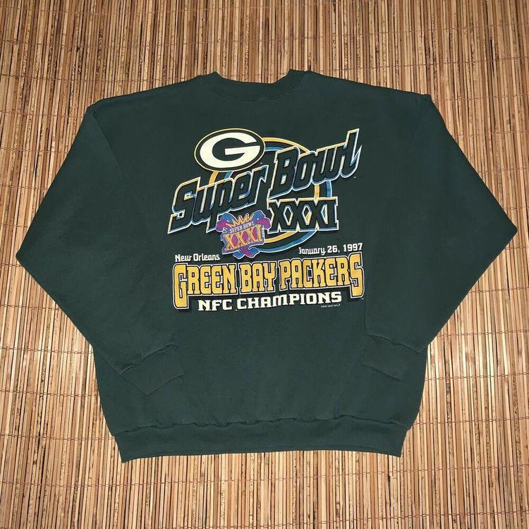 wholesale dealer d2c00 378fb Vintage 1990s 1997 Green Bay Packers Logo 7 Super Bowl XXXI Sweatshirt  Orleans