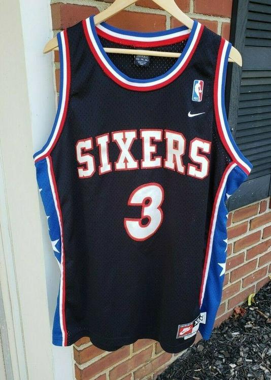 buy popular ab51a a9ad5 VTG Allen Iverson 76ers Throwback Nike Jersey XL Swingman Philadelphia  Sixers