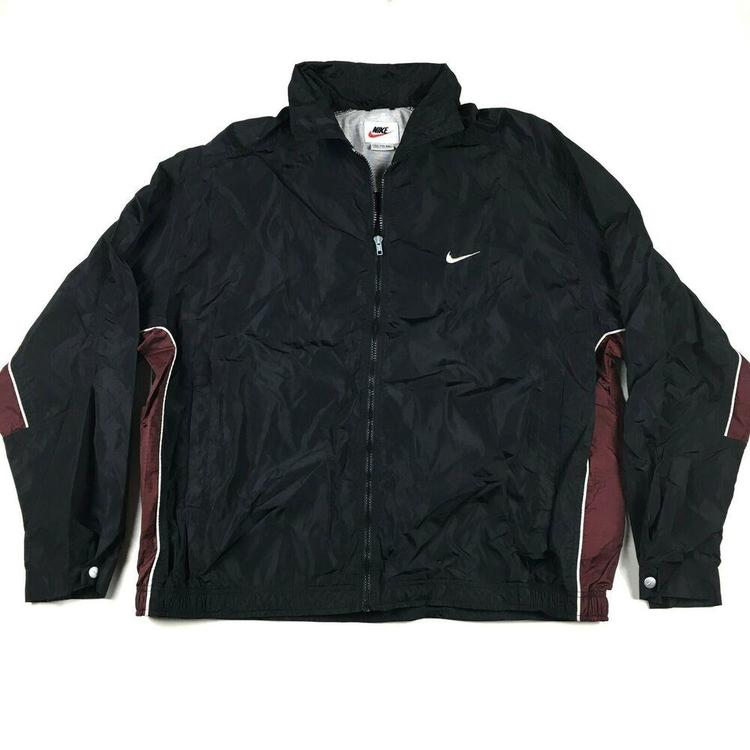 premium selection skate shoes in stock Vintage Nike Nylon Windbreaker Jacket Zip Up White Tag Black/Maroon Swoosh  XXL