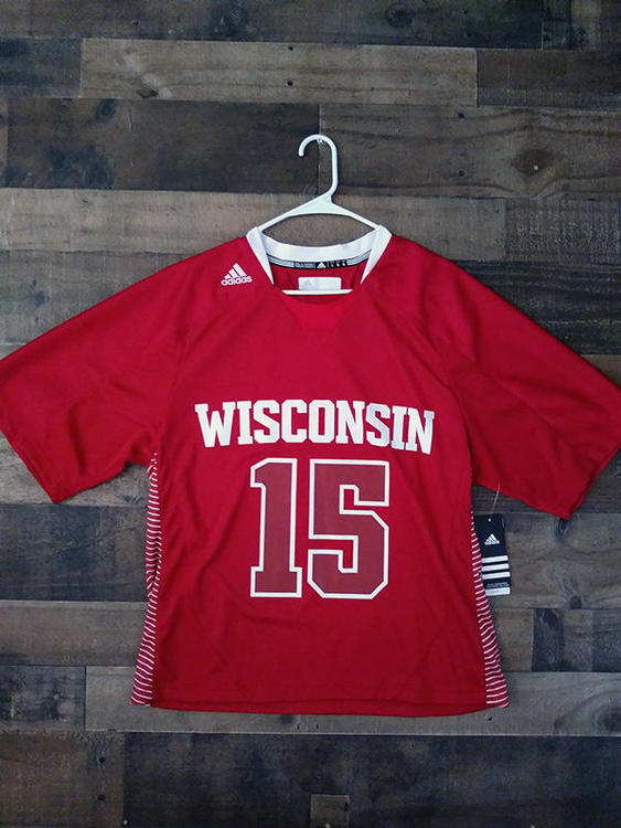 New Adidas NCAA College Lacrosse UNIVERSITY WISCONSIN BADGERS Red White #15 Demo Player Jersey