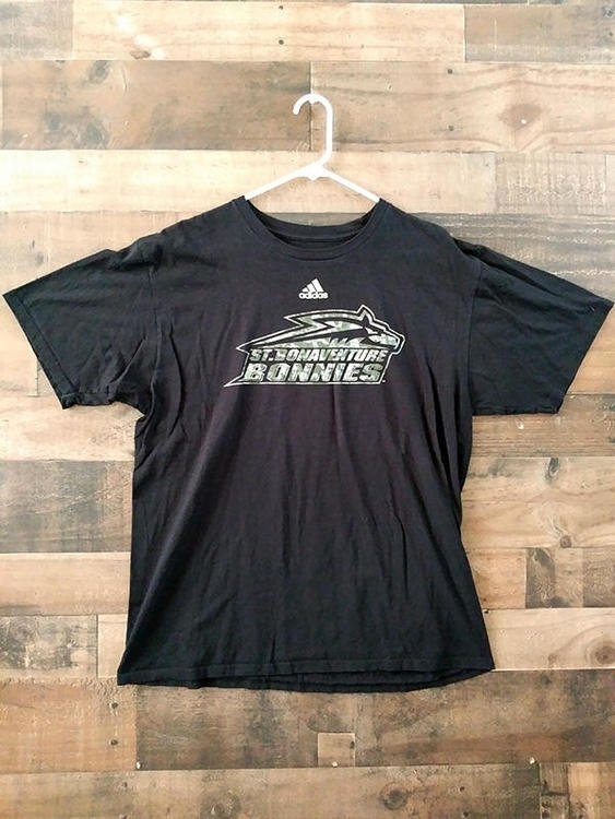 100% authentic f998e b0431 Adidas NCAA College Lacrosse SAINT BONAVENTURE UNIVERSITY BONNIES  Camouflage Lettering Team Shirt
