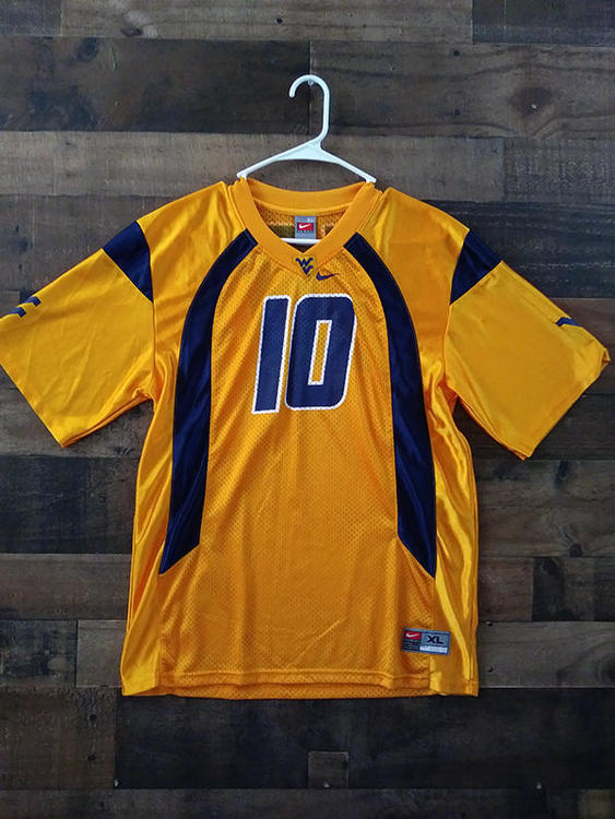 official photos cdcdb 43e0e Nike NCAA College Football WVU WEST VIRGINIA UNIVERSITY MOUNTAINEERS  Polyester #10 Player Jersey