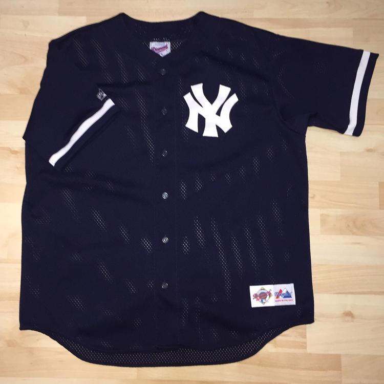 the latest 84bb5 33f4e Vtg 90s New York Yankees Majestic Adult Baseball Jersey SZ XL