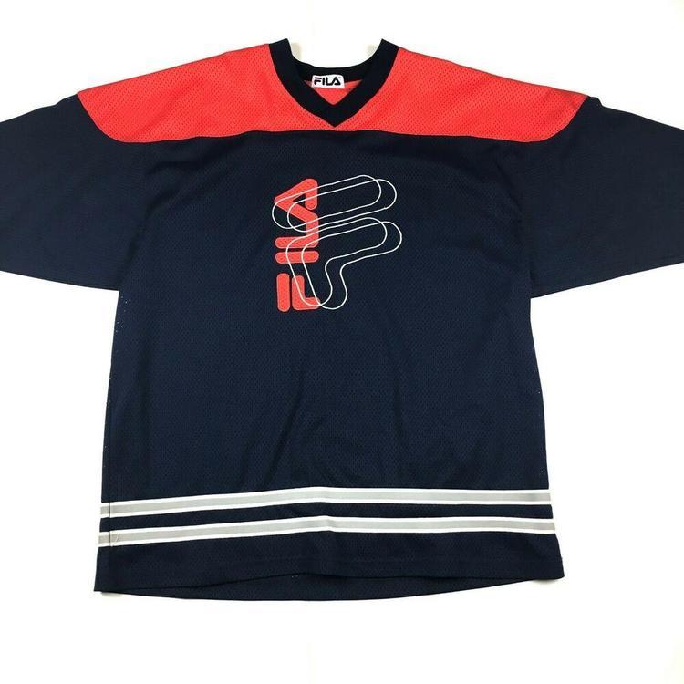 VTG Fila Hockey Jersey Mesh Short Sleeves 90s Embroidered Big Logo Sz Large