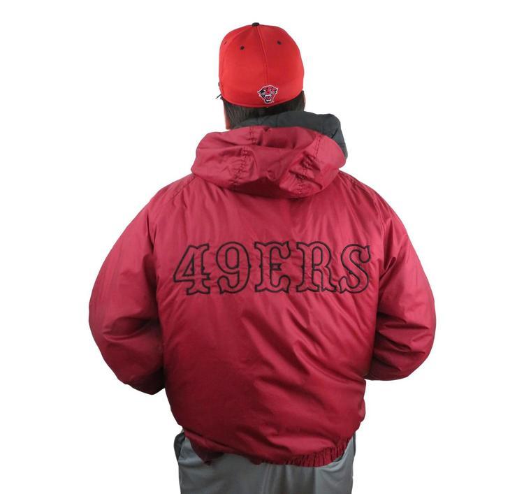 best service d9561 999b4 Men's SAN FRANCISCO 49ERS Puffer Jacket Size XXL Insulated Hooded NFL Rain  Maroon Coat Hoodie