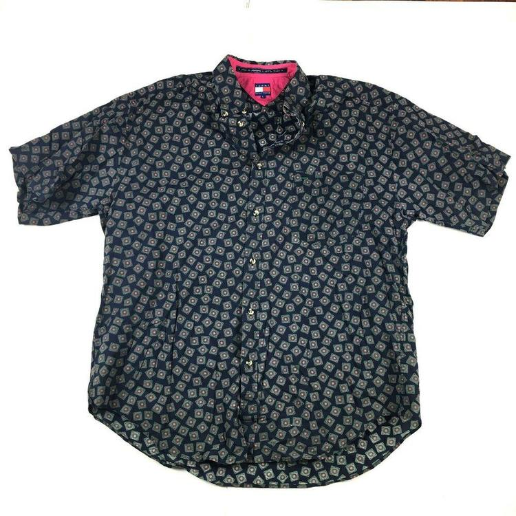 VTG Tommy Hilfiger Button Down Shirt Short Sleeve 90s Print Blue/Green Sz  Large