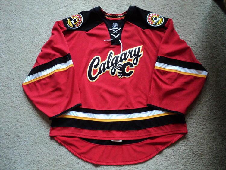 Reebok Calgary Flames Alternate Jersey Goalie Cut Sold Hockey