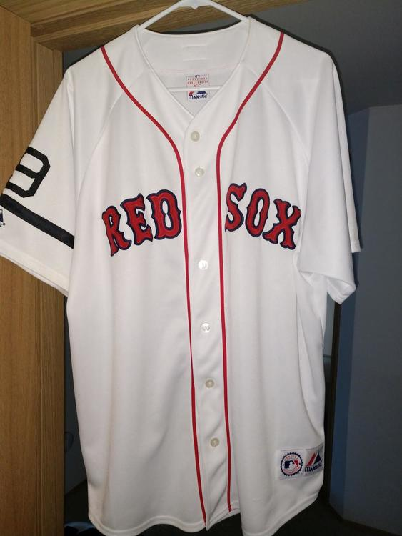 check out 87088 f3590 Nomar Garciapara Red Sox home jersey w/Ted Williams memorial patch