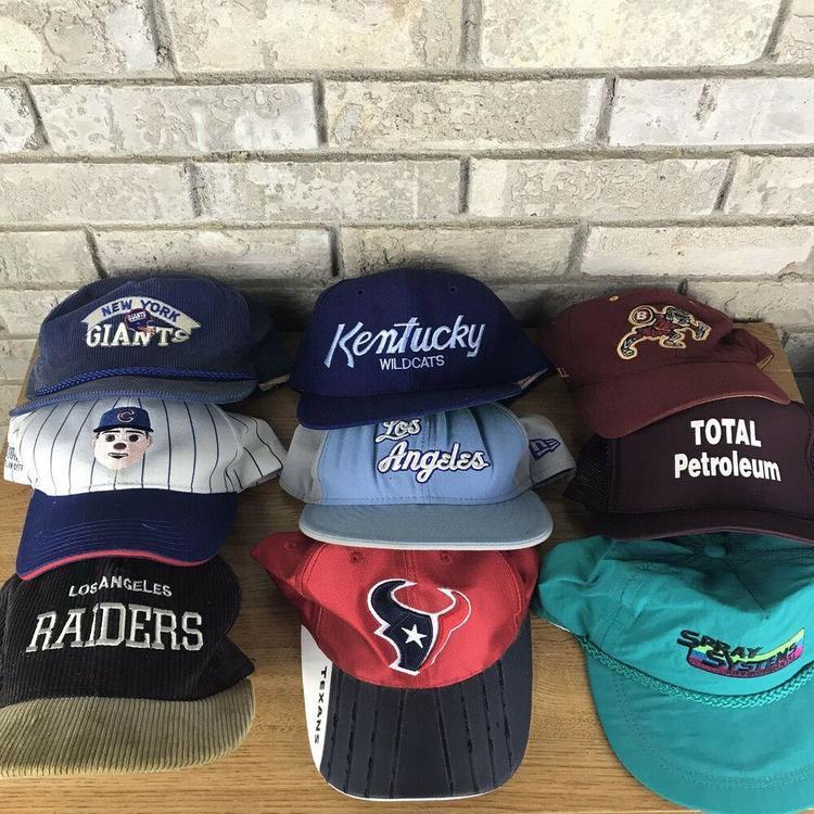 Vintage Snapback Hats >> Lot Of 9 Vintage Snapbacks Hats Sports Specialties Script Raiders Wildcats Laker