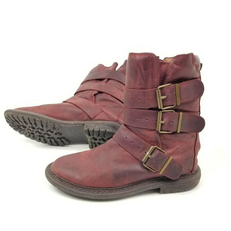 detailing reasonable price premium selection Jeffrey Campbell Red Distressed Leather Trudge Boot Brit Wrap ...