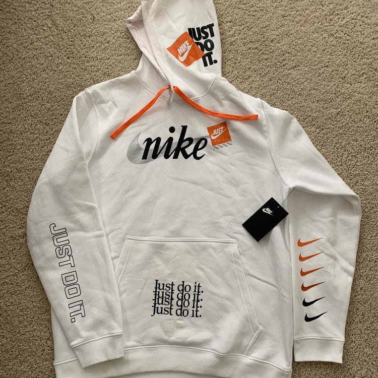 Nike Pullover Just Do It JDI Hoodie White Orange Black Size MediumLarge
