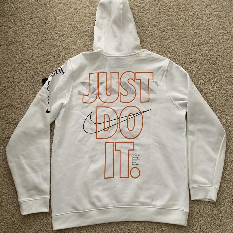 Nike Pullover Just Do It JDI Hoodie White Orange Black Size MediumLarge | SOLD | Apparel Sweatshirts & Hoodies | SidelineSwap