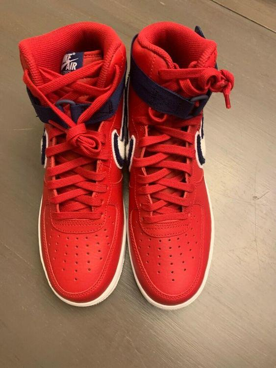 Nike Air Force 1 Red Blue High '07 LV8 Gym RedWhite Blue Void White Shoes 806403 603