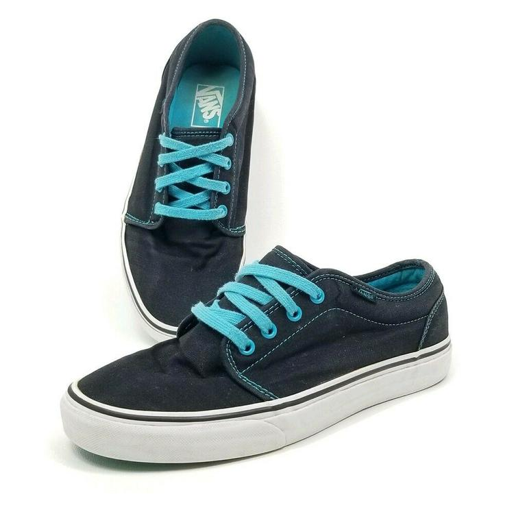 Vans Black Teal Skateboarding Skate Tennis Shoes Mens Sz 9 Womens Sz 10.5M T381