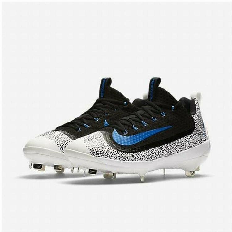 Baseball Cleats Nike Men's Air huarache 2KFILTH Elite Low cut black dots  white Blue Sz 13.5