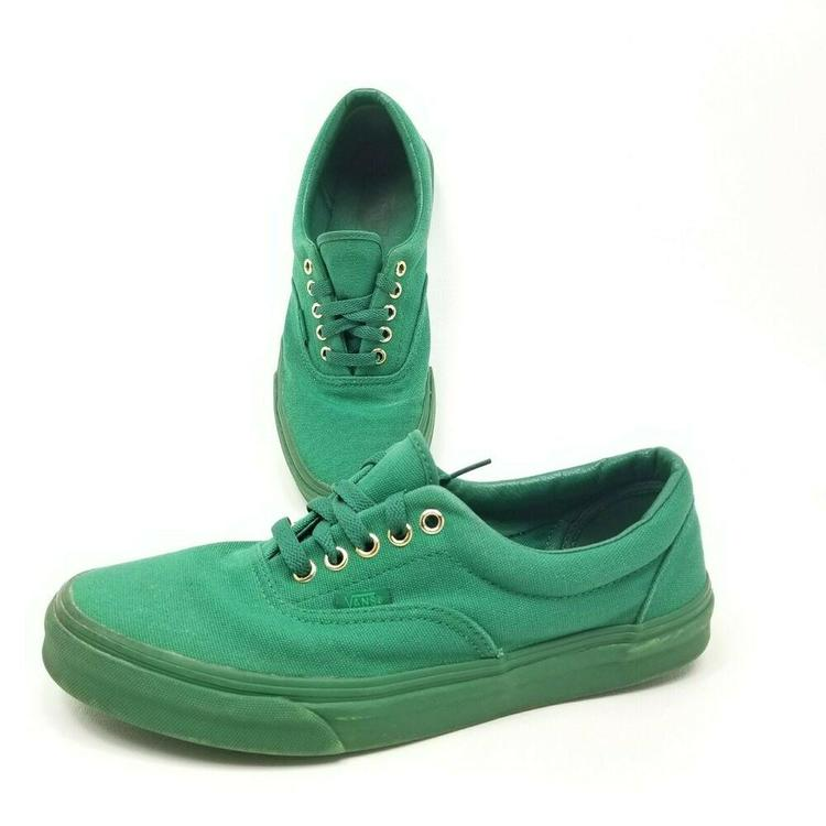Vans Era Gold Mono Verdant Green Mens Size 9 Gold Eyelets Skateboard Womens 10.5
