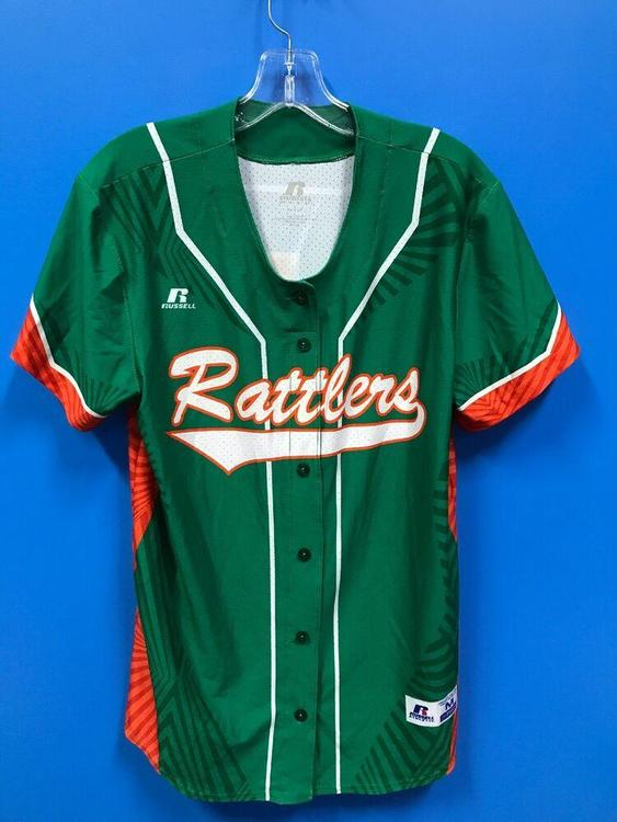 NEW Russell Athletic Adult Rattlers Baseball Jersey Color Green Orange Size M *FIRM PRICE*