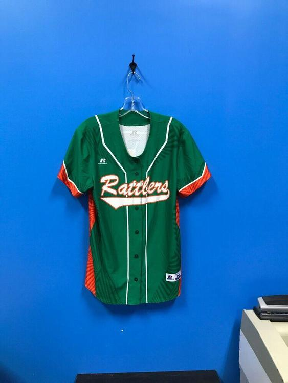 NEW Russell Athletic Adult Rattlers Baseball Jersey Color Green Orange Size M *FIRM PRICE*   SidelineSwap