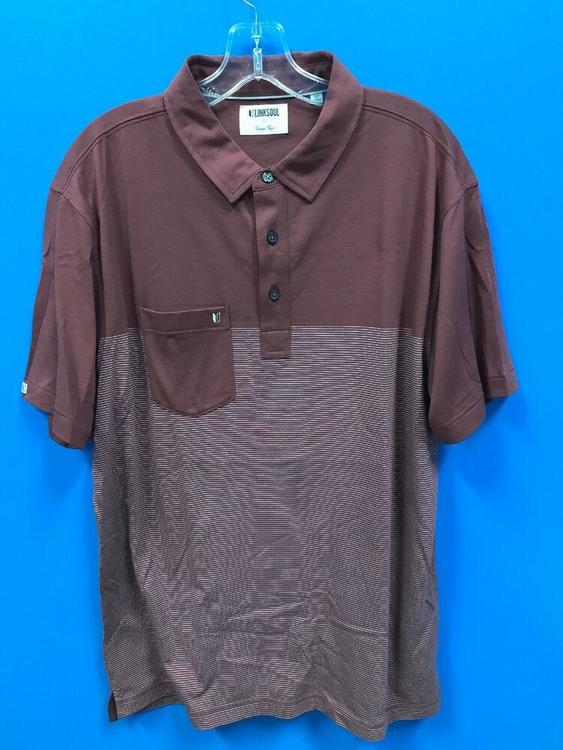 NEW Linksoul Men's Golf Polo Shirt Color Redwood Striped Size L Large *FIRM PRICE*