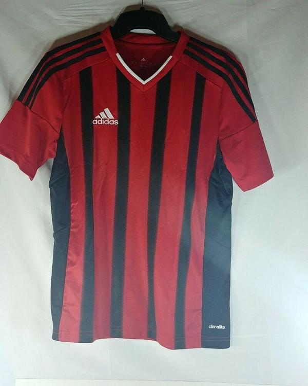 Adidas Red Black Soccer Jersey Size Youth Large YL Fort14 BRAND NEW Firm Price