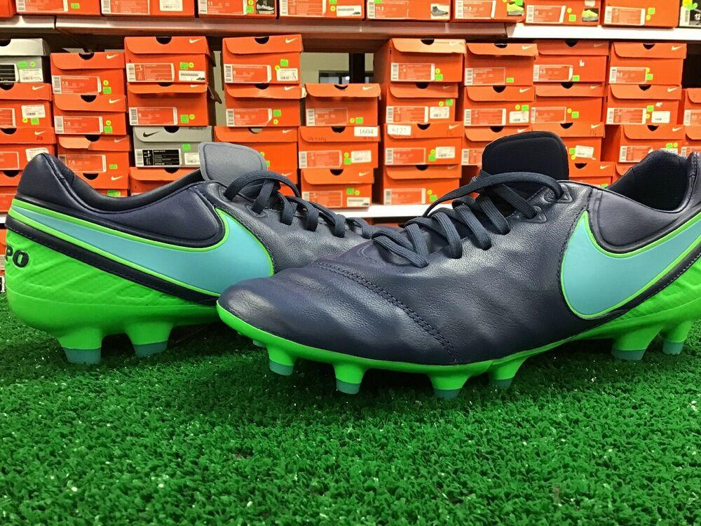 II FG Mens Leather Cleats - Blue Green
