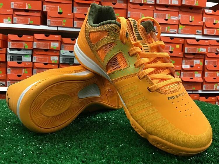 New Puma EvoSPEED SALA Soccer Indoor Shoes Orange Olive Green Size 4.5 NIB FIRM PRICE