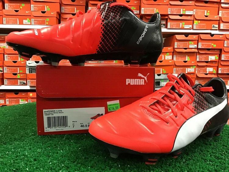 New Puma EvoPOWER 1.3 FG Red / Black Soccer Cleats Size 8 New In Box FIRM PRICE