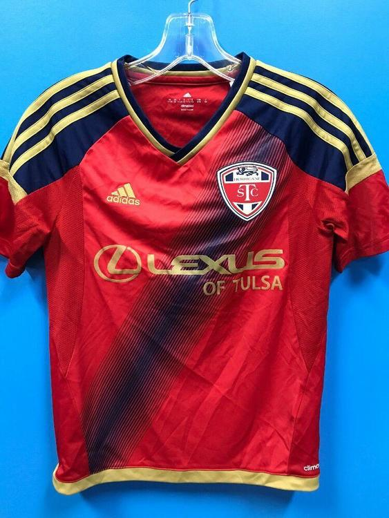NEW Adidas 100% Polyester Youth STC Hurricane Soccer Jersey Color Red Navy Gold