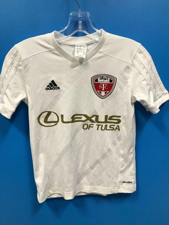 NEW Adidas 100% Polyester Climalite Youth Soccer Jersey Color White Gold *FIRM PRICE*
