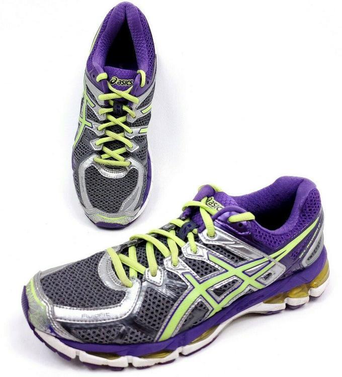 Asics Gel Kayano 21 Womens Size 9.5 Running Shoes Purple Green T4H7N Gray