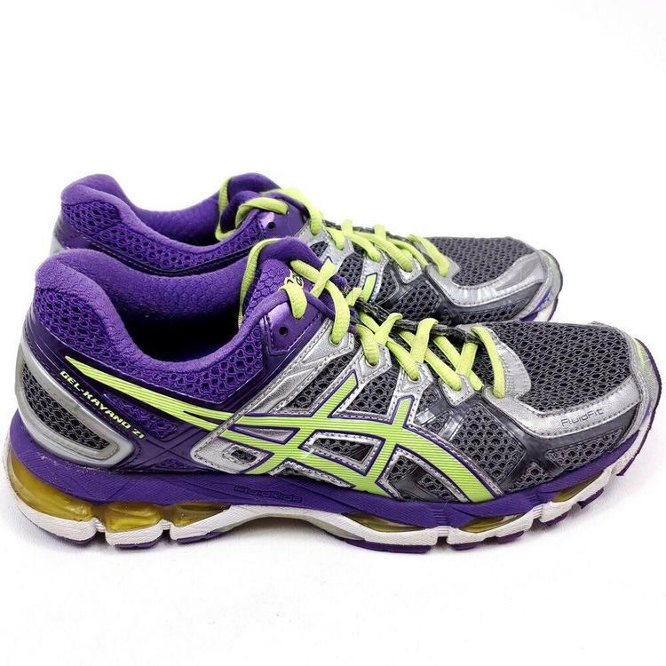 Asics Gel Kayano 21 Womens Size 9.5 Running Shoes Purple Green T4H7N Gray Fottøy Turfs, innendørs, joggesko og treningSidelineSwap Fottøy Turfs, innendørs, joggesko og trening SidelineSwap