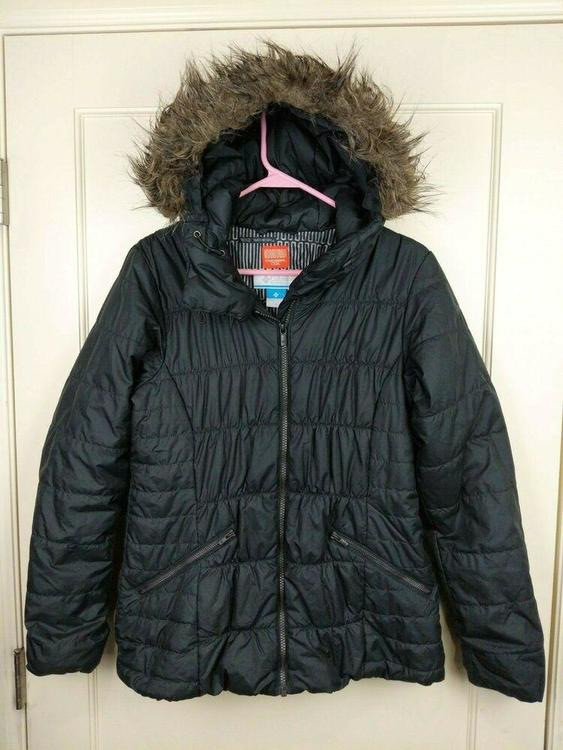 Columbia Thermal Coil Black Quilted Puffer Jacket Fur Hood Women's Size: S