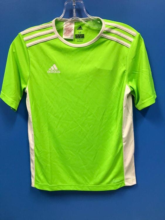 NEW Adidas 100% Polyester Climalite Youth Soccer Jersey Color Green White Size M *FIRM PRICE*