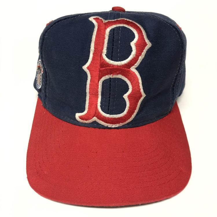 vintage 90s boston red sox big logo snapback hat removed