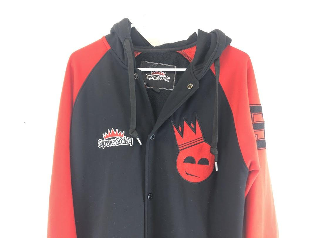 New  SUPREME SOCIETY Black//Red Hoodie Jacket  MEN Size XXXL***