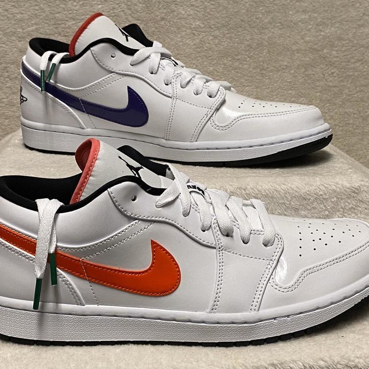 Air Jordan Nike 1 Low Multi Color Swoosh Mens Size 10 5 White