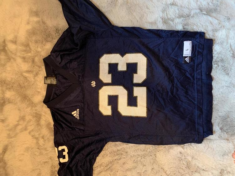 Notre Dame University- Navy Blue Used Men's Youth Large Adidas Jersey
