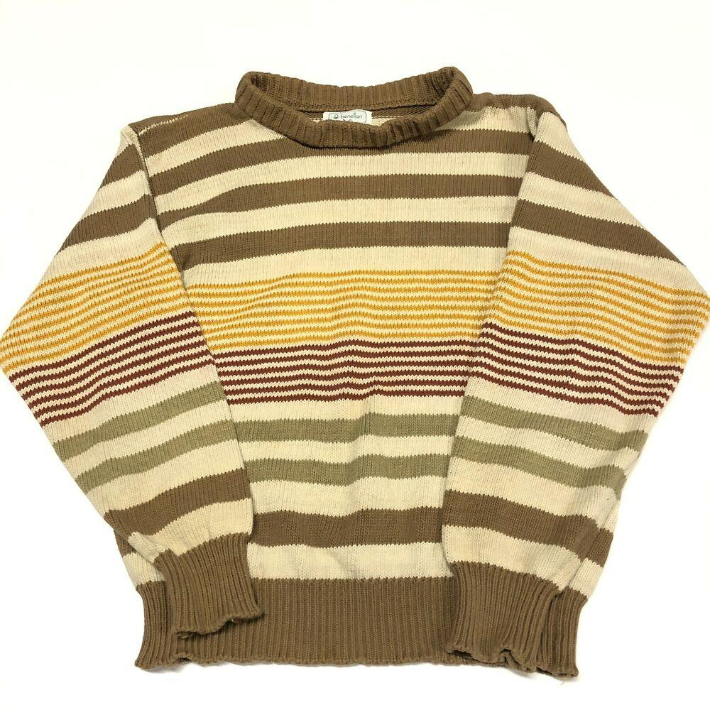 Vintage 90s Benetton Striped Sweater Mens Adult Small Beige