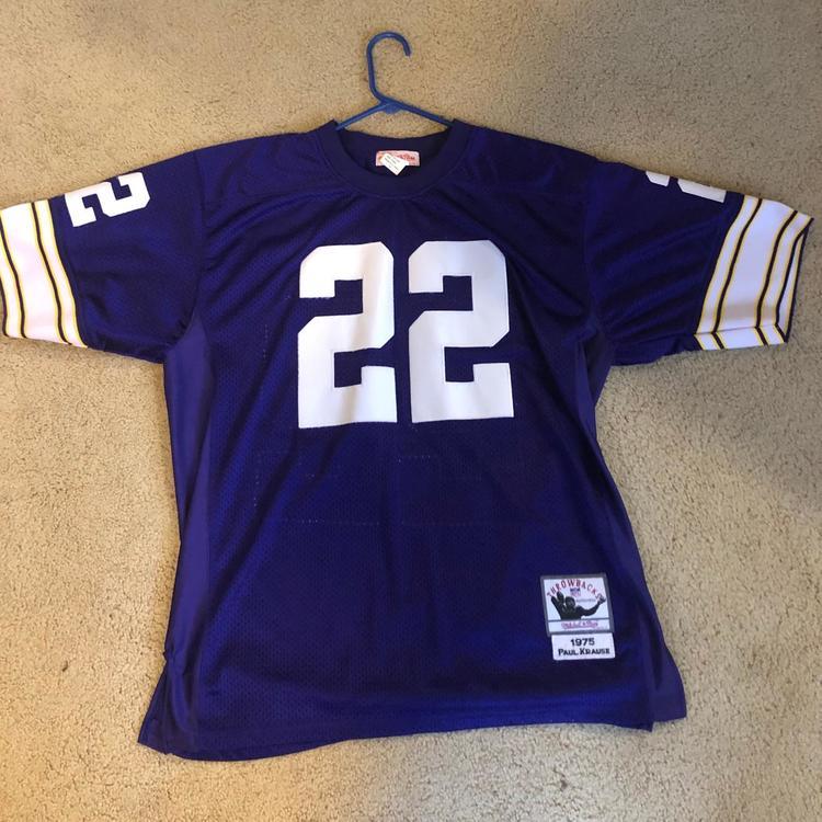 Paul Krause Minnesota Vikings #22 Purple Used Adult Size 50 Mitchell & Ness Jersey | SidelineSwap
