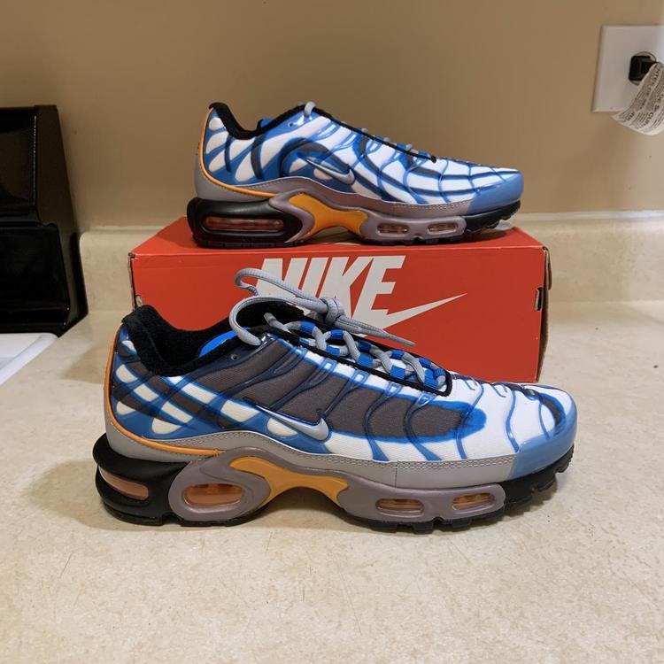 Nike Men S Air Max Plus Photo Blue Grey Orange 815994 400 Size 9 5