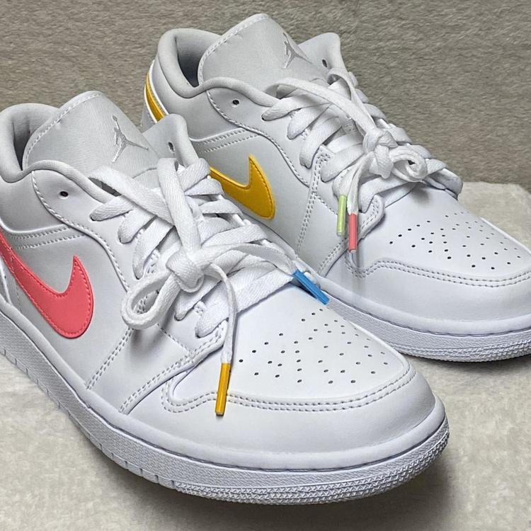 Air Jordan Nike 1 Low Aqua Men S Size 9 White Multi Color Light