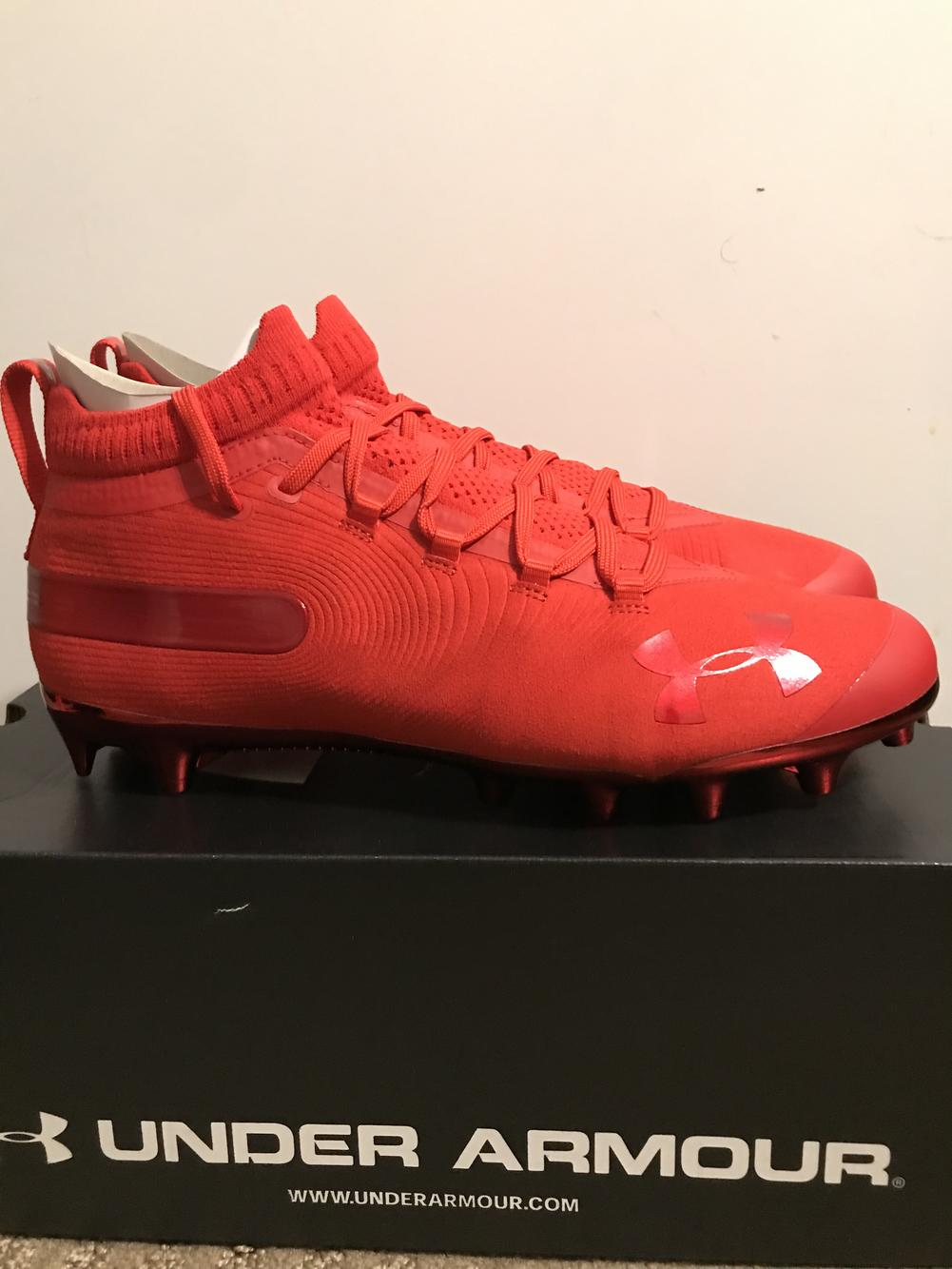 all red under armour football cleats