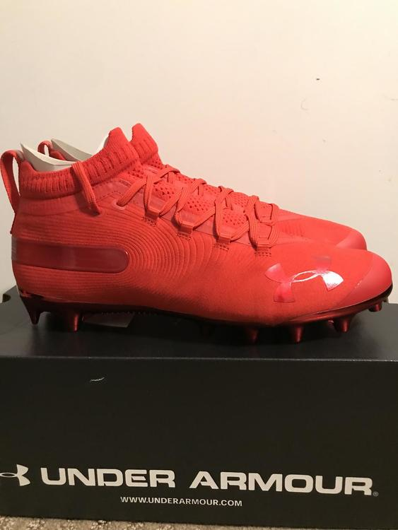 Under Armour Ua Spotlight Mc Red Suede Sz 10 Brand New Football Cleats